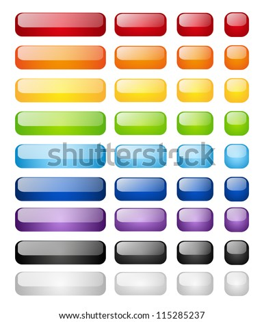 Set of glossy buttons isolated on white