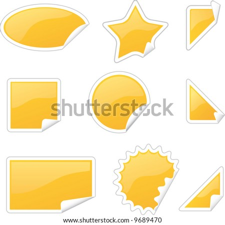 set of glossy labels in various shapes with peels