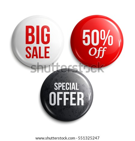 Set of glossy sale buttons or badges. Product promotions. Big sale, special offer, 50% off. Vector.