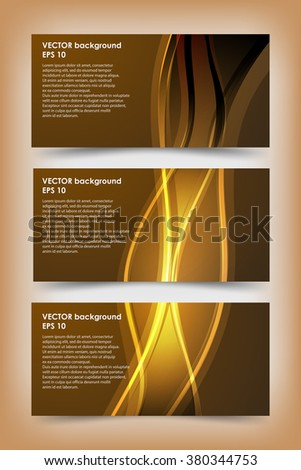 Set of gold banner templates. Bright modern abstract design.