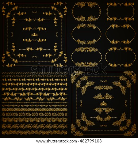 Set of gold decorative hand-drawn floral element, corner, seamless borders, frames, filigree dividers, crown on black background. Page, web site decoration in vintage style. Vector illustration EPS 10
