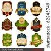 Set of gold-framed labels. Retro design elements. - stock vector