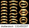 set of gold ribbons - stock photo