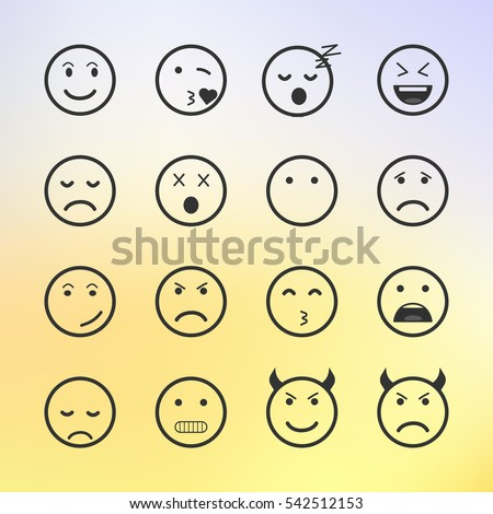 Set of green Emoticons, Emoji and Avatar. Outline style isolated vector illustration on white background. Happy, sad, disappointment face icon graphic on blurred background.