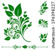 Set of green leaf icons. Collection of design elements isolated on White background. Vector illustration - stock vector