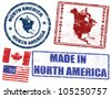 Set of grunge rubber stamps with the text North America written inside, vector illustration - stock vector