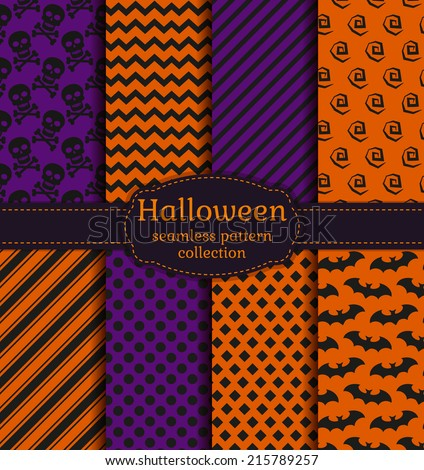 Set Halloween Backgrounds Collection Seamless Patterns Stock ...
