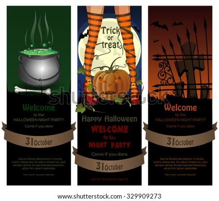 Set of Halloween night backgrounds with full moon, cemetery, magic cauldron  and sexy witch legs in striped stockings on a background of jack-o'-lantern. Vector illustration.