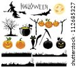 Set of Halloween vector illustration - stock photo