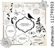 Set of  hand-drawing calligraphic floral design elements. Vector illustration. - stock photo