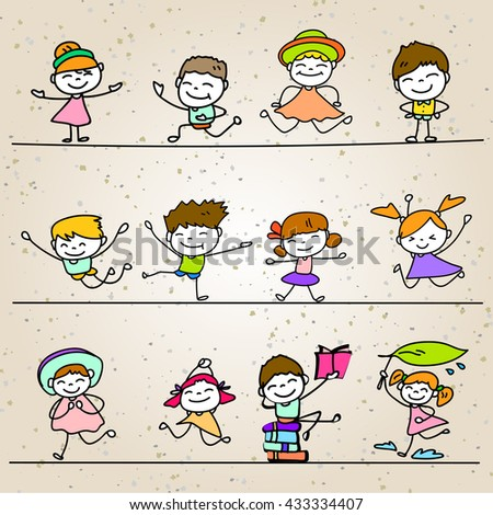 Set of Hand drawing cartoon happy people vector illustration