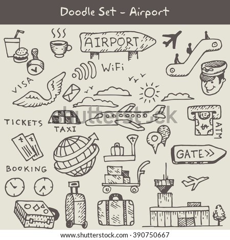 Set of hand drawn airport icons with - airplane, airport, passport and ticket, luggage, pilot,gates, taxi, toilet icons, scoreboard. vector