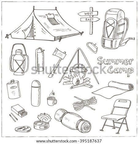 Set Of Hand Drawn Camping Equipment Drawings Sketches Drawing Vector Illustration