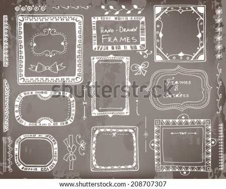 Set of hand - drawn floral and geometrical elements for  design - frames, borders, dividers and bows on chalkboard  background.