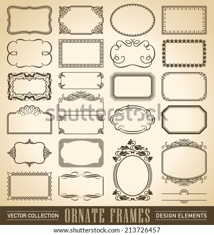 set of 24 hand-drawn frames and panels in various styles, vector (eps8)