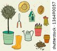Set of hand drawn garden tools, pot, ground, watering can, olive tree in a pot, straw hat, gloves, rubber boots and bird house. Vector illustration. - stock vector