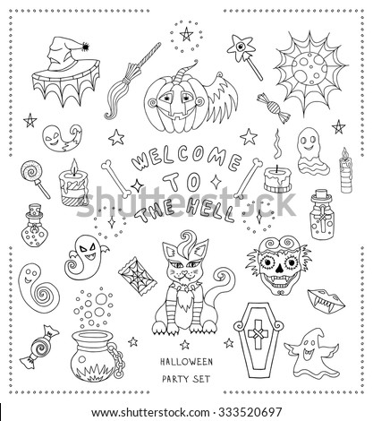 Set Of Hand Drawn Halloween Coloring Book Vector Illustration With Different Creathers And Objects