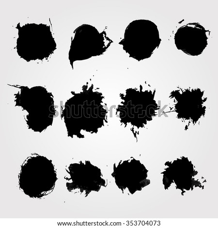 Set of hand drawn ink blot. Vector element for Your design