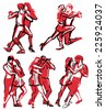 Set of hand drawn quick sketches of dancing couple in various poses - stock vector
