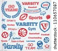 Set of hand drawn school sports text lettering and icons - stock vector