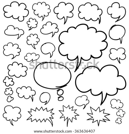 Set of hand drawn speech bubbles and thought clouds. Optimized for easy color changes. EPS8 vector.