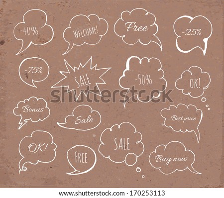 Set of hand-drawn speech bubbles on brown paper. Vector illustration