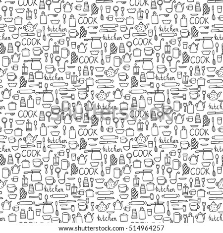 Set of hand drawn style abstract seamless repeat patterns