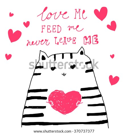 Set of hand-drawn valentines postcard print with hearts lettering letters pink. Design elements. Doodle hand drawn style illustration for greeting card, t-shirts and bags print, scrap-booking
