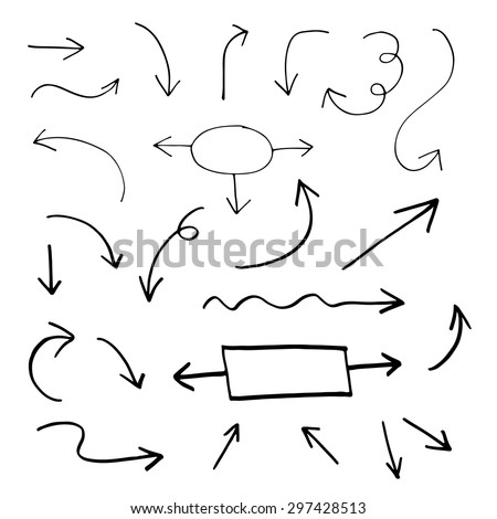 Set of hand drawn vector arrows
