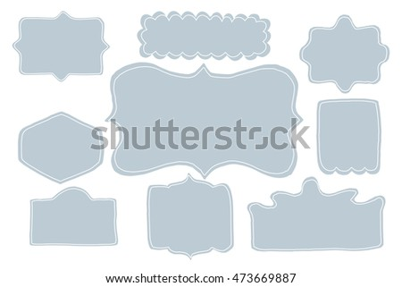 Set of hand drawn vector frames. Blue banners.