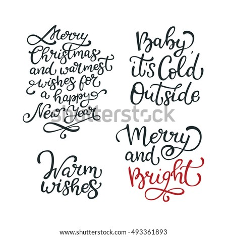 Set Hand Drawn Vector Quoteswarm Wishes Stock Vector