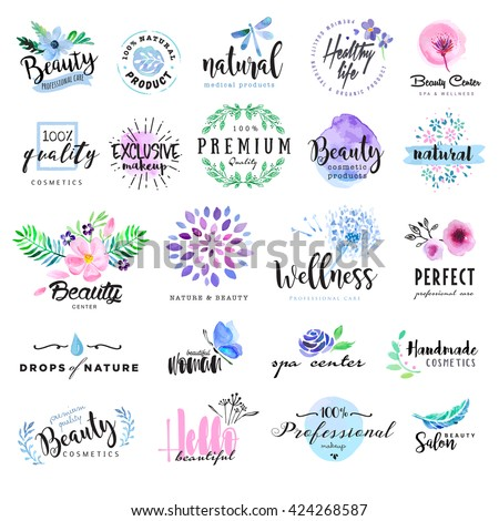 Set of hand drawn watercolor labels and badges for beauty, healthy life and wellness. Vector illustrations for graphic and web design, for cosmetics, natural products, spa, beauty center.