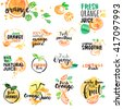 Set of hand drawn watercolor labels and signs of orange juice and smoothies. Vector illustrations for graphic and web design, for restaurant and bar, menu. - stock photo