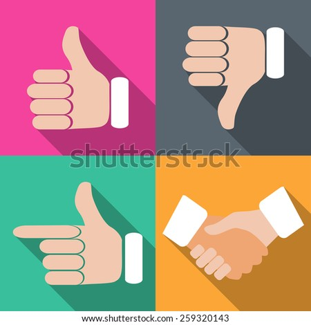 Set of hands with fingers on different backgrounds in flat vector illustration