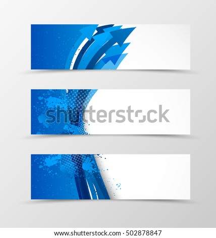 Set of header banner wavy design with blue arrows in grunge style. Vector illustration