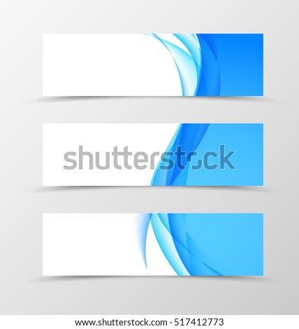 Set of header banner wavy design with blue lines in light style. Vector illustration
