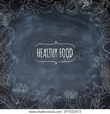 Set Of Healthy Vegetarian Food Vegetables And Herbs Hand Drawn Vector Background Linear