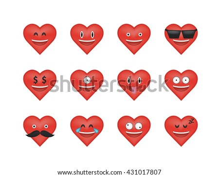 Set of heart  icon vector isolated on white background. Emoji vector. Love faces smile icon set. Emoticon icon web.