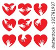 Set of 9 heart icon with caring hands, vector illustration - stock vector