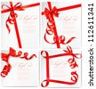 Set of holiday background with red gift bow with red ribbons. Vector - stock vector