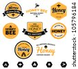 Set of honey and bee labels for honey logo products - stock vector