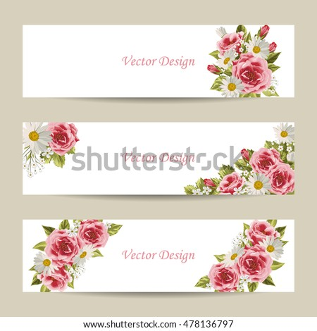 Set of horizontal banners. Beautiful compositions with pink roses and daisies isolated on white.