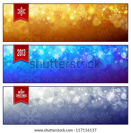 Set of horizontal luminous Christmas banners. Vector illustration.