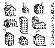 Set of houses sketch for your design - stock vector