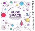 Set of huge universe infographic illustration. Outer space rocket flying up into the solar system with a lot of planets background. Vector thin lines icons stars in galaxy design concept.  - stock vector