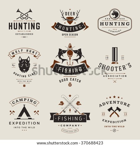 Set of Hunting and Fishing Labels, Badges, Logos Vector Design Elements Vintage Style. Deer Head, Hunter Weapons. Advertising Hunter Equipment. Fishing Logo, Deer Logo, Rifle Logo,
