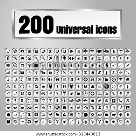 Set of 200 icons for web and mobile on white