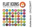 Set of icons for web, business or media. Flat Design. - stock