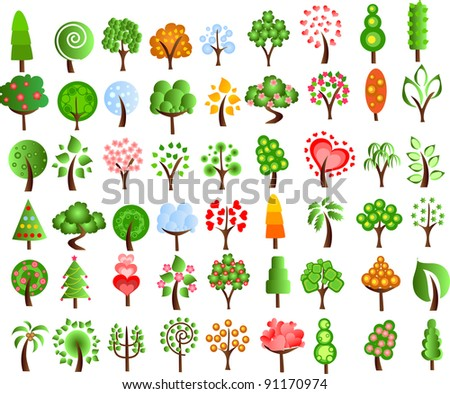 Set of icons of different trees