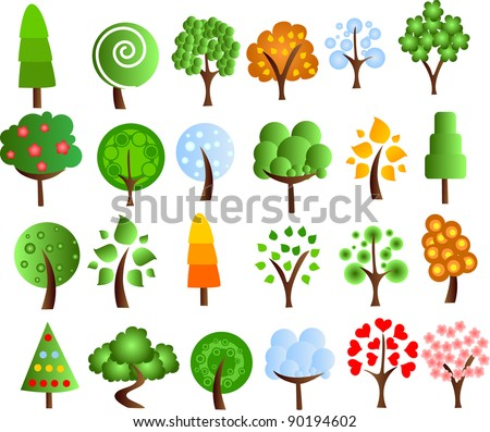 Set of icons of different trees, the vector